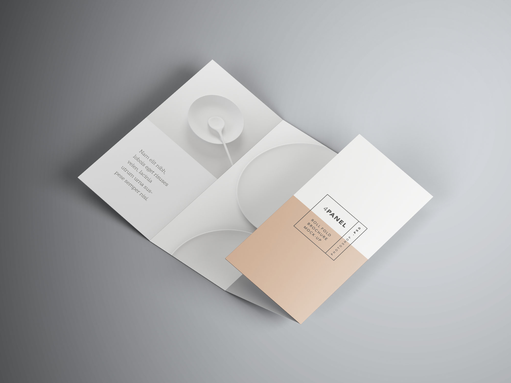 Free 4 Panel Roll Fold Brochure Mockup