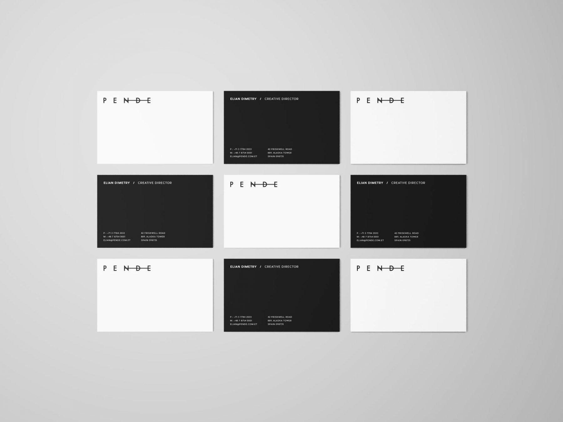Free Uniform Overhead Business Cards Mockup
