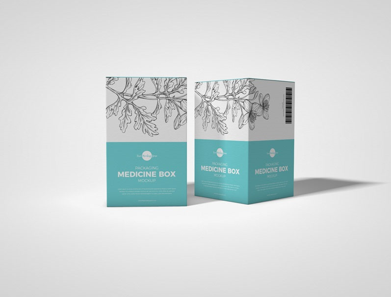Free Packaging Medicine Box Mockup