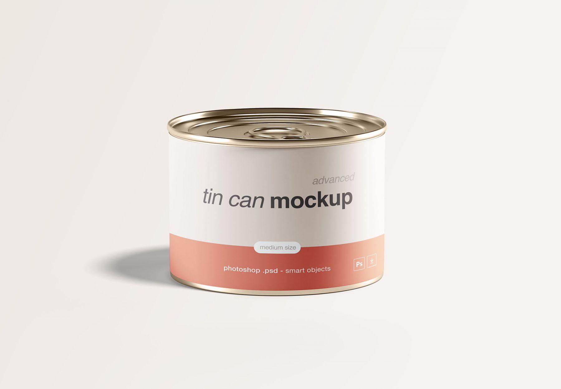 Free Medium Tin Can Mockup