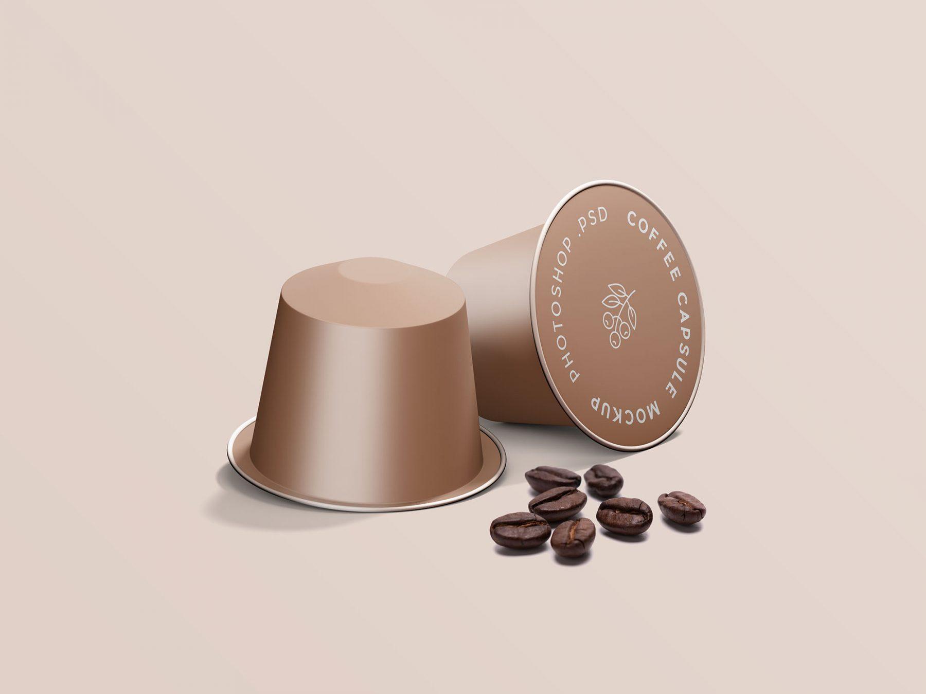 Free Espresso Coffee Capsule Mockup