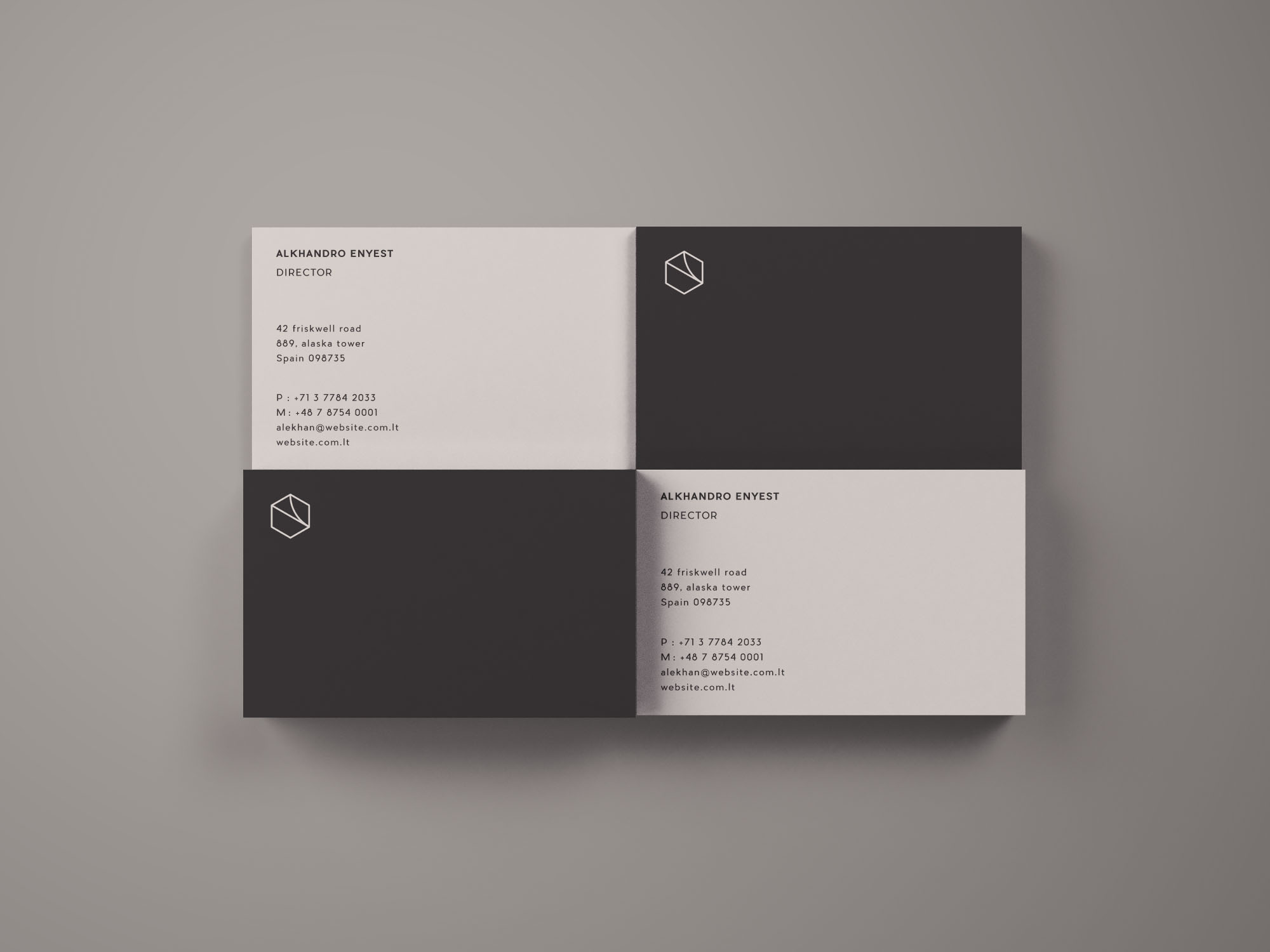 Free Business Cards Mockup Top View