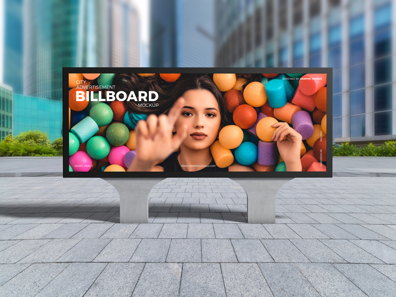 Free City Advertisement Billboard Mockup