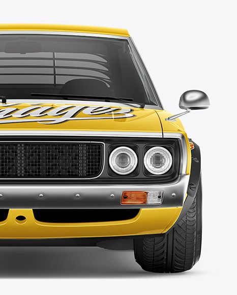 Free Retro Sport Car Mockup - Front View
