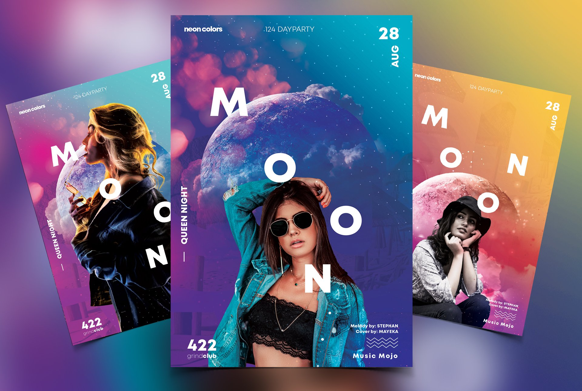3 Club Abstract PSD Flyers Templates