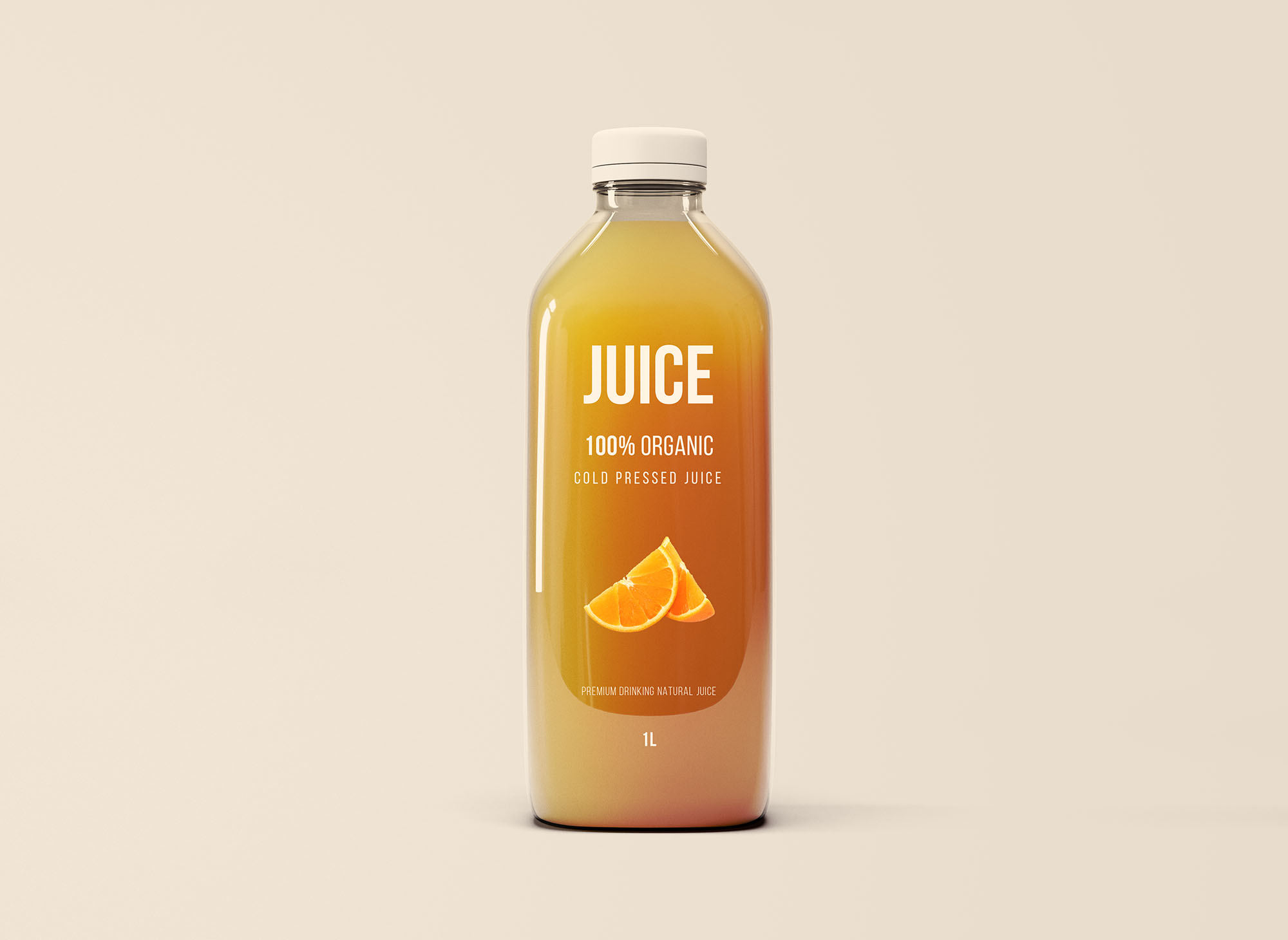 Free Big Glass Juice Bottle Mockup
