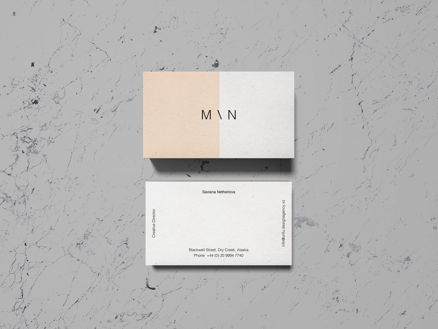 Free Overhead Business Card Mockup