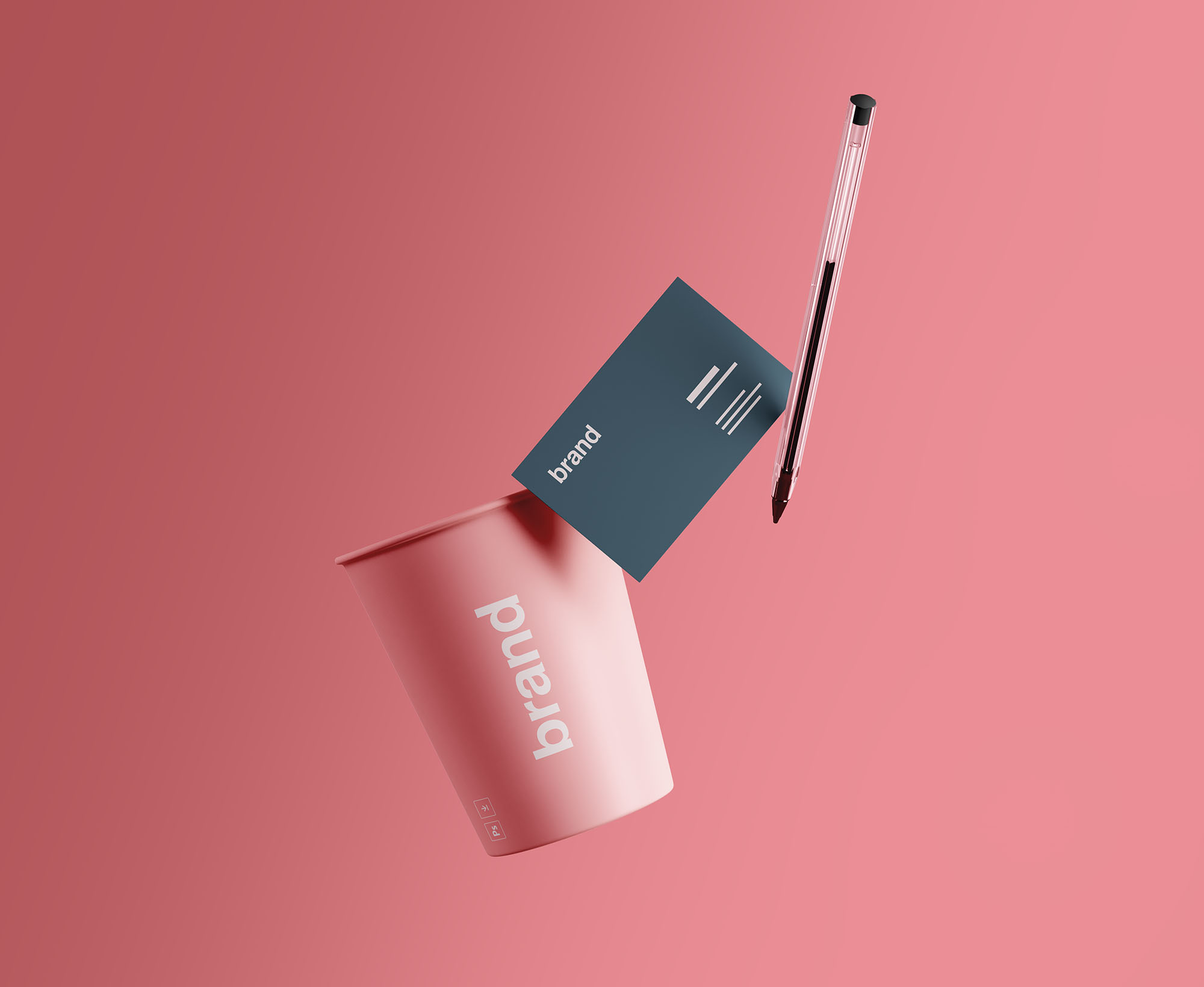 Free Cup & Business Card Branding Mockup