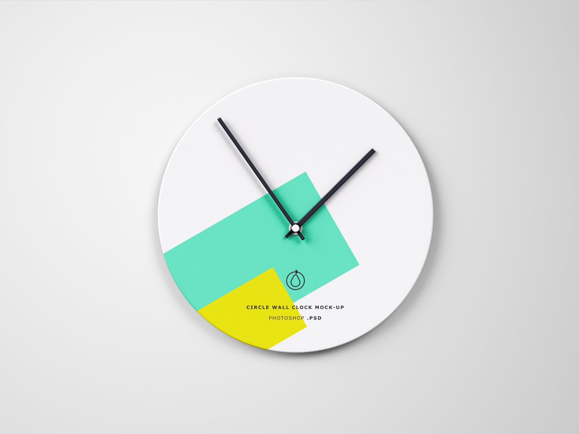 Free Circle Wall Clock Mockup