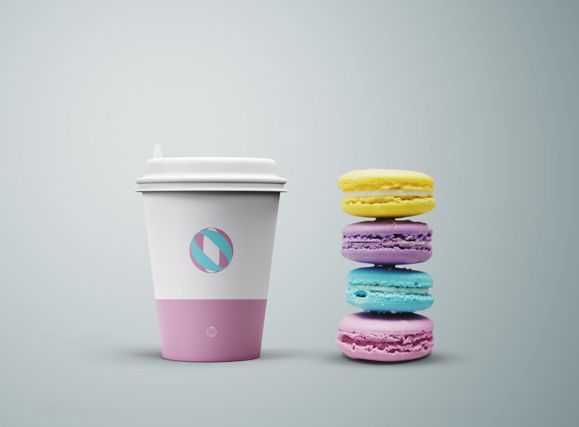 Free Coffee Cup & Cookies Mockup