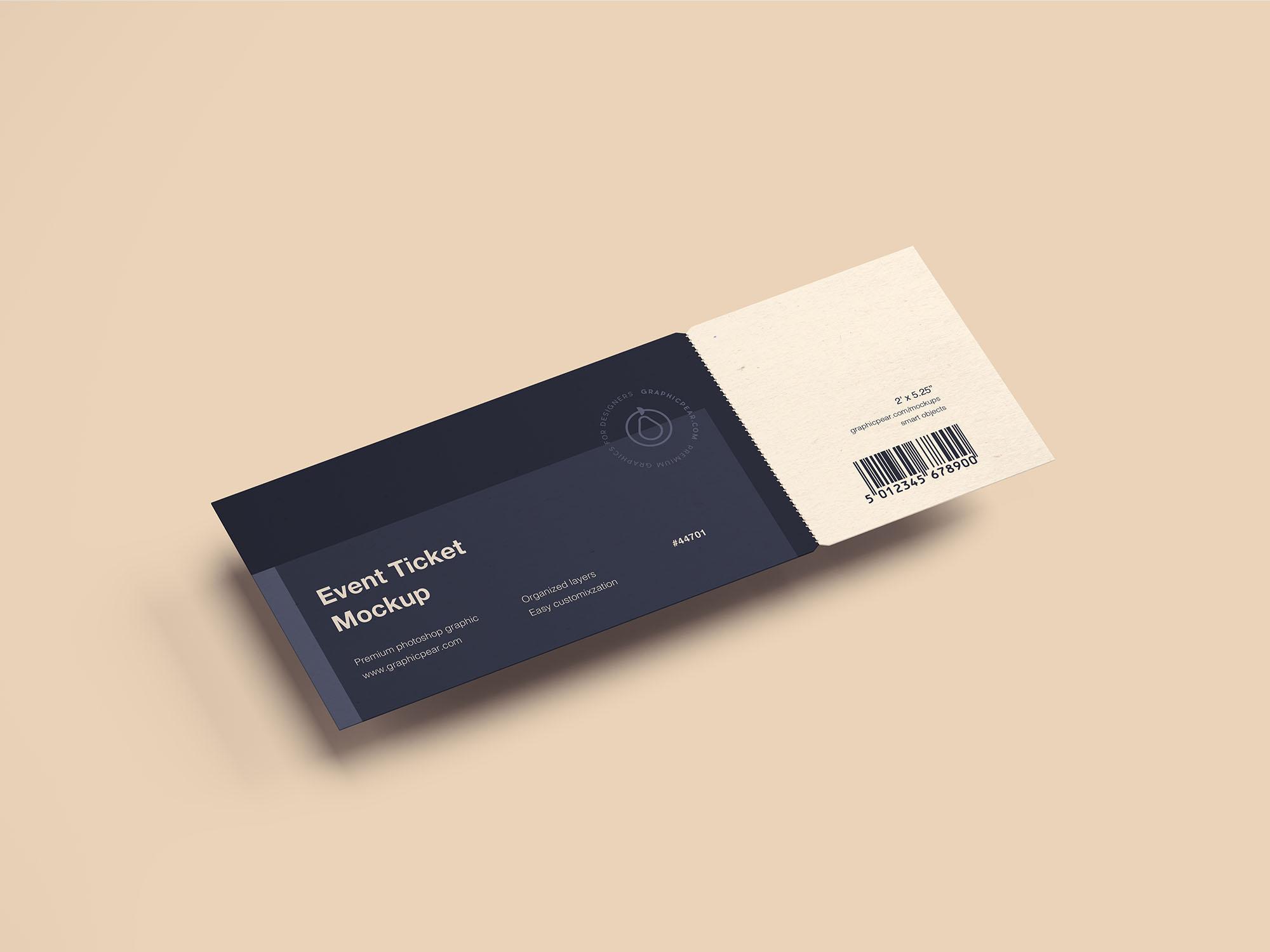 Free Simple Ticket Mockup