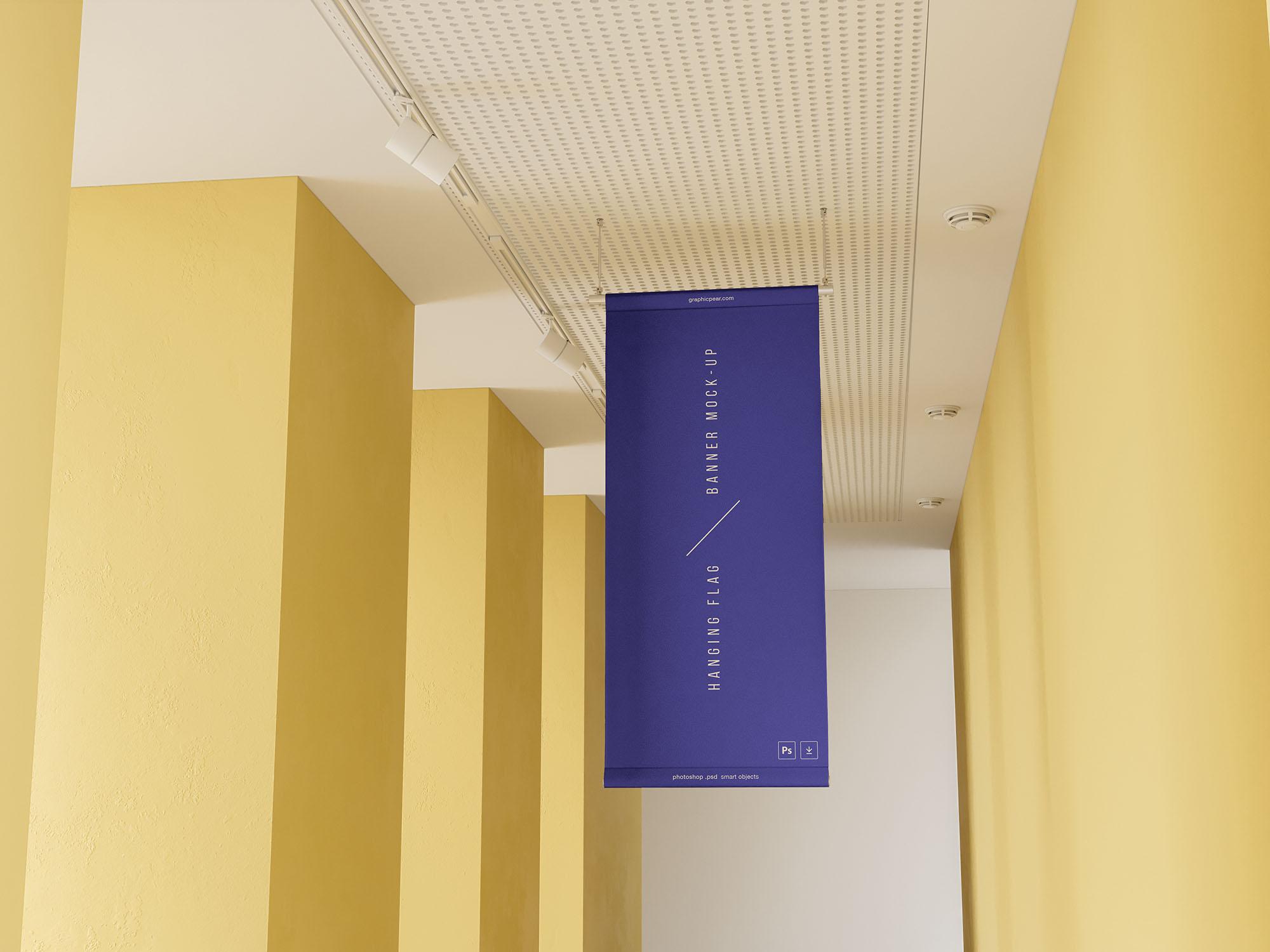 Free Hanging Flag Banner Mockup