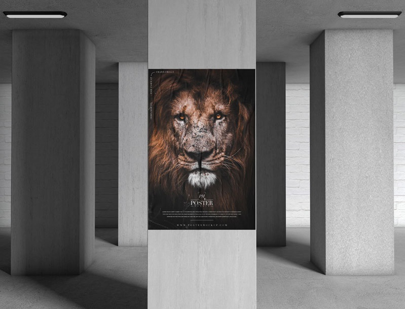 Free Underground Pillar Poster Mockup