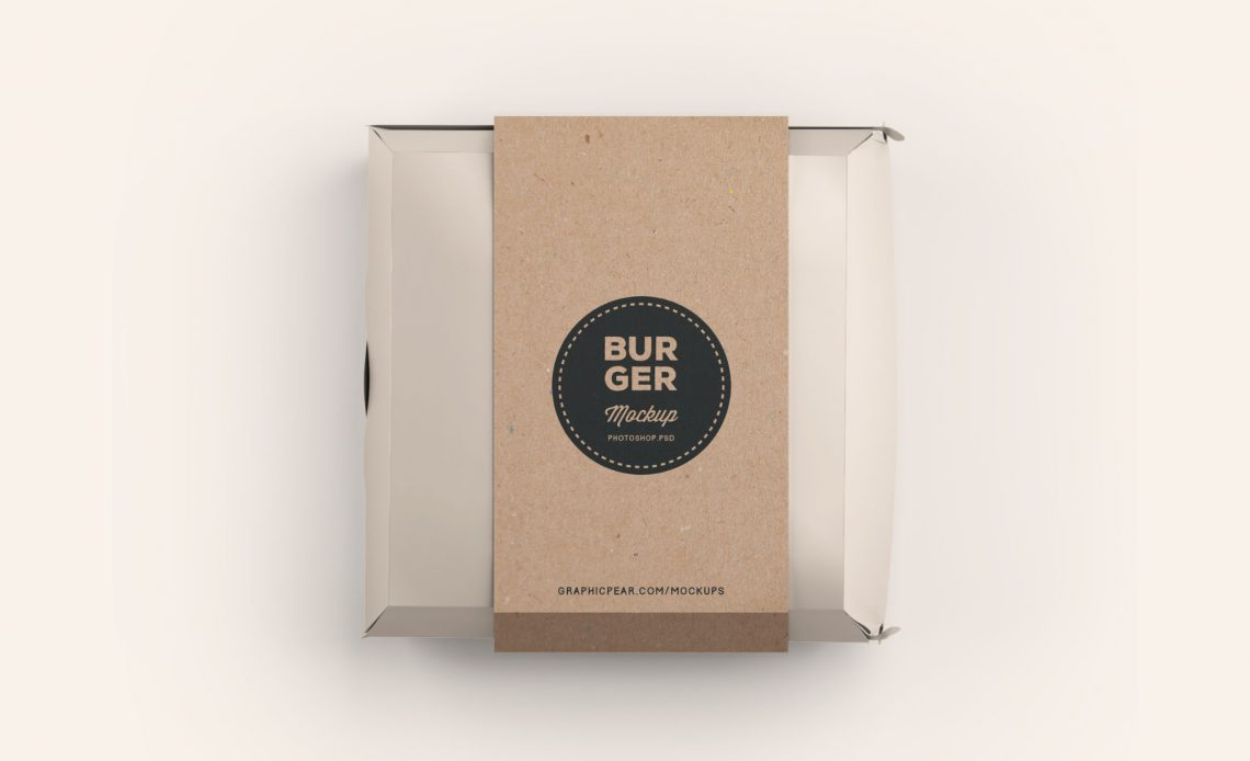 Free Burger Box Package Mockup