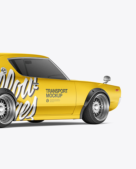 Free Retro Sport Car Mockup - Back Half Side View