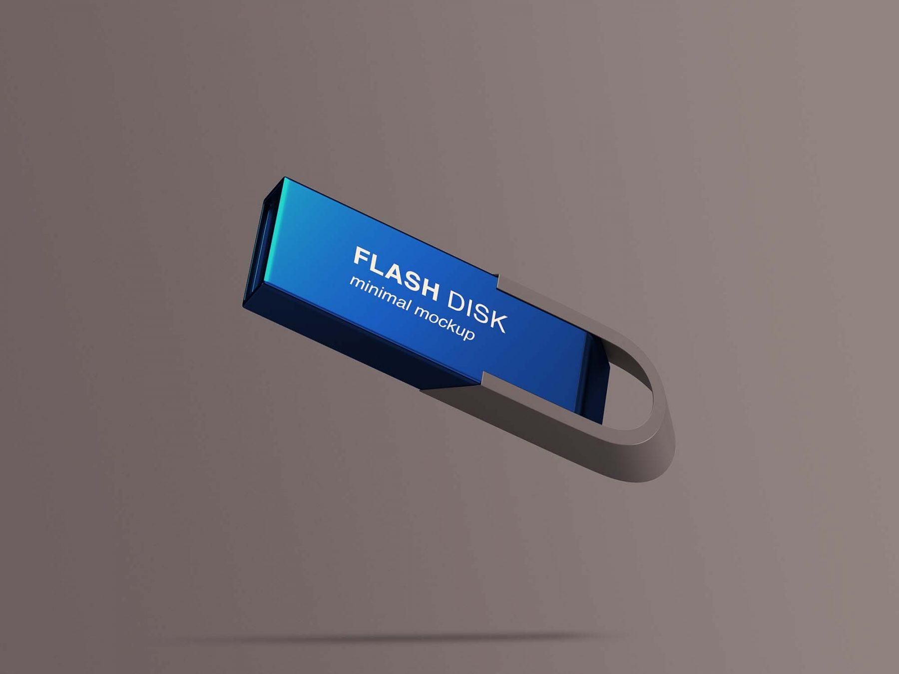 Free Flying Flash Disk Mockup