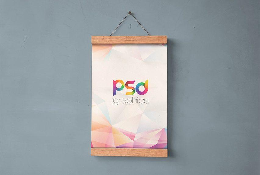 Free Hanging Wall Poster Mockup