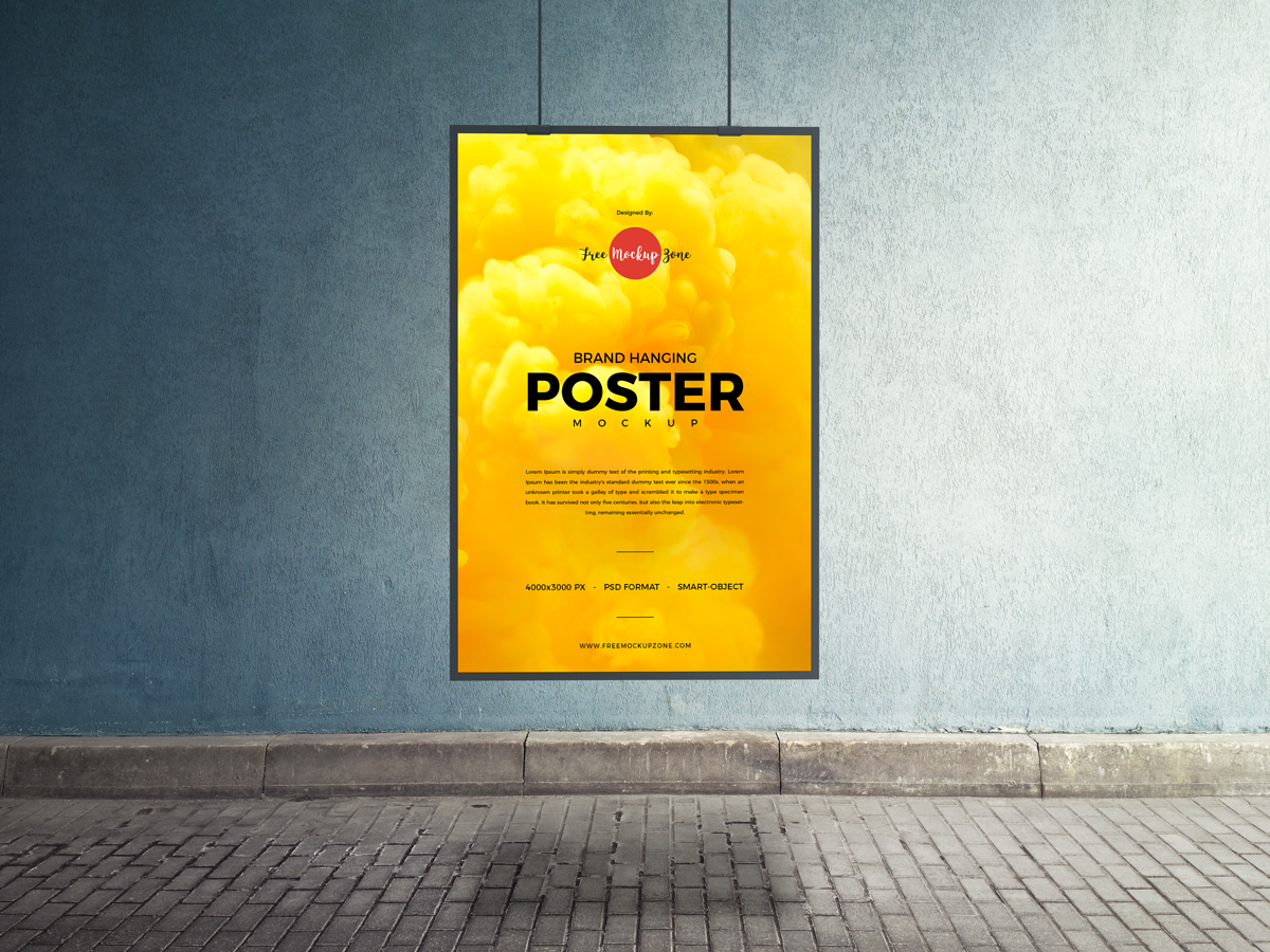 Free Indoor Hanging Poster Mockup