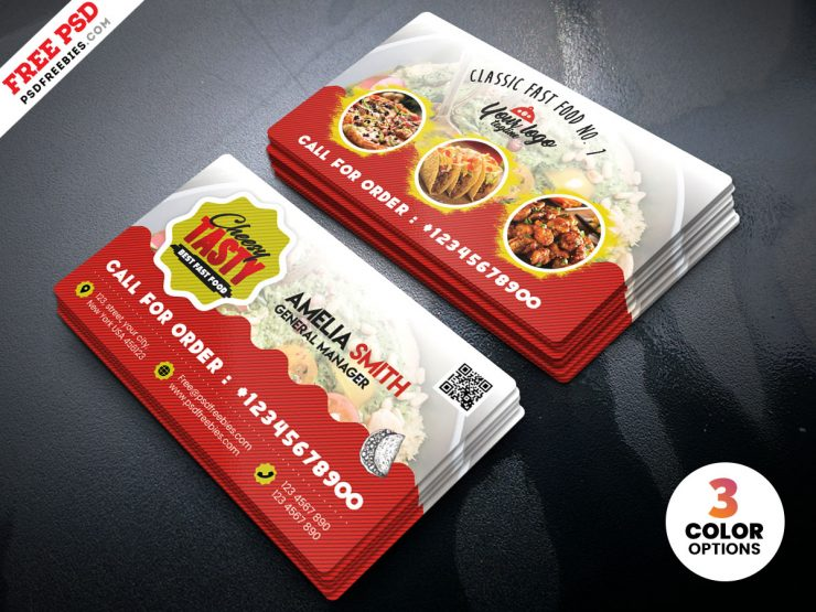 Free Food Restaurant Business Card PSD Template