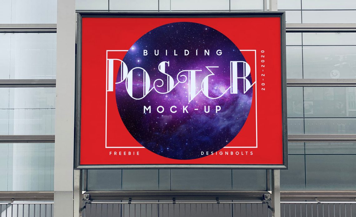 Free Mounted on Building Poster Mockup