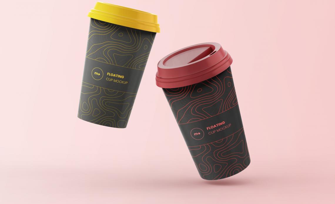 Free Floating Coffee Cups Mockup