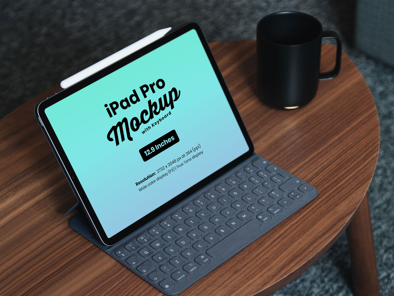 Free iPad Pro Mockup with Keyboard