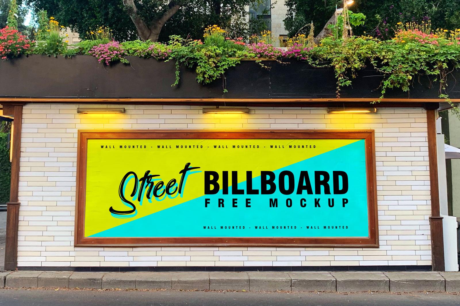Free Street Wall Mounted Billboard Mockup