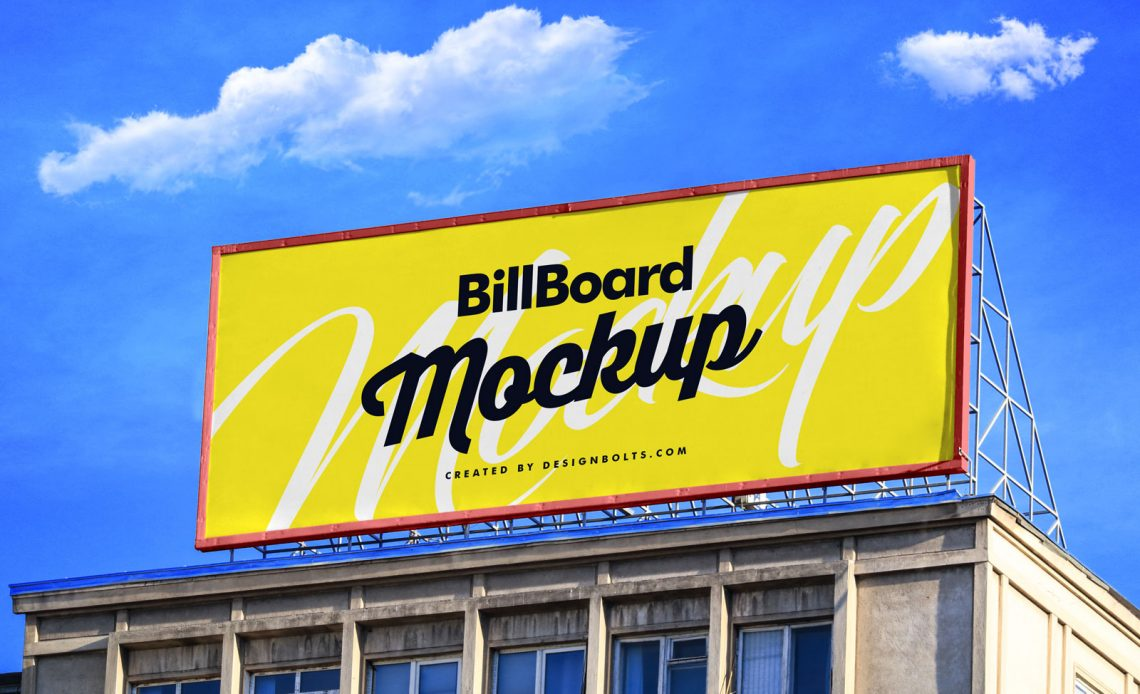 Free Billboard On Building Mockup