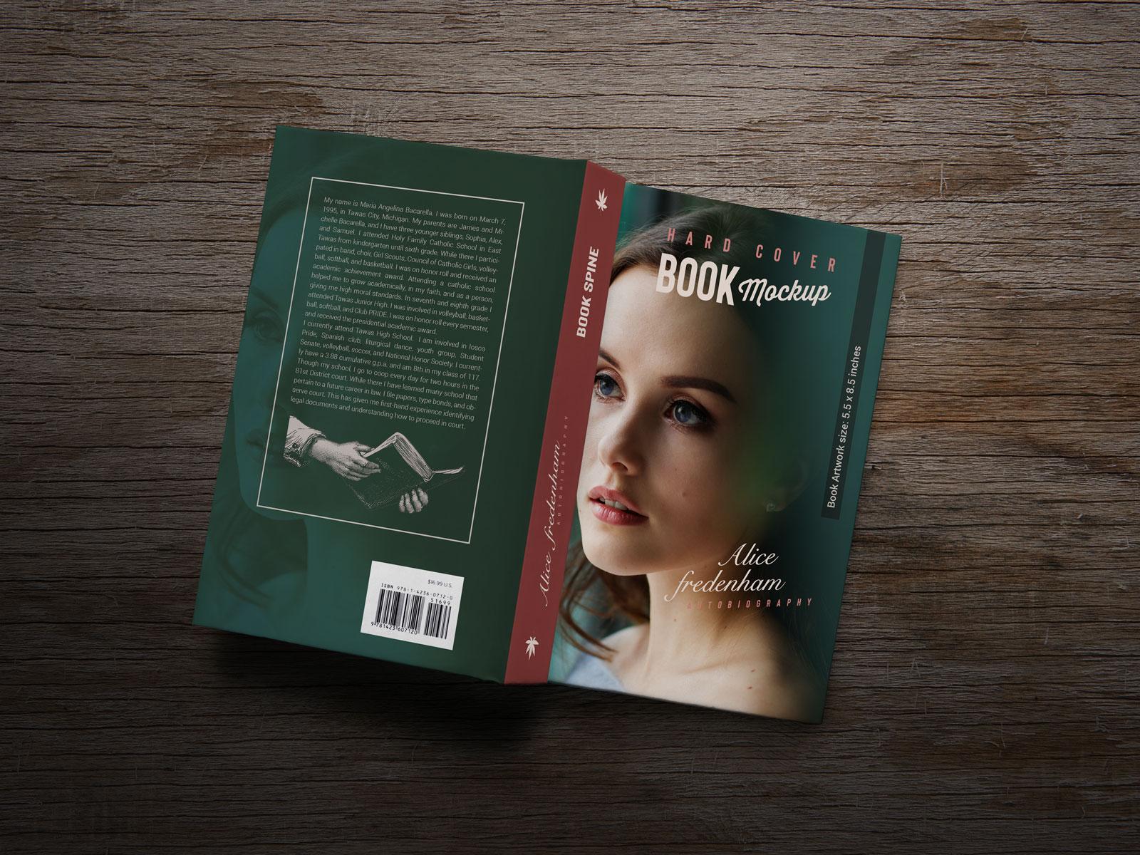 Free Fat Book Title - Spine & Backside Mockup