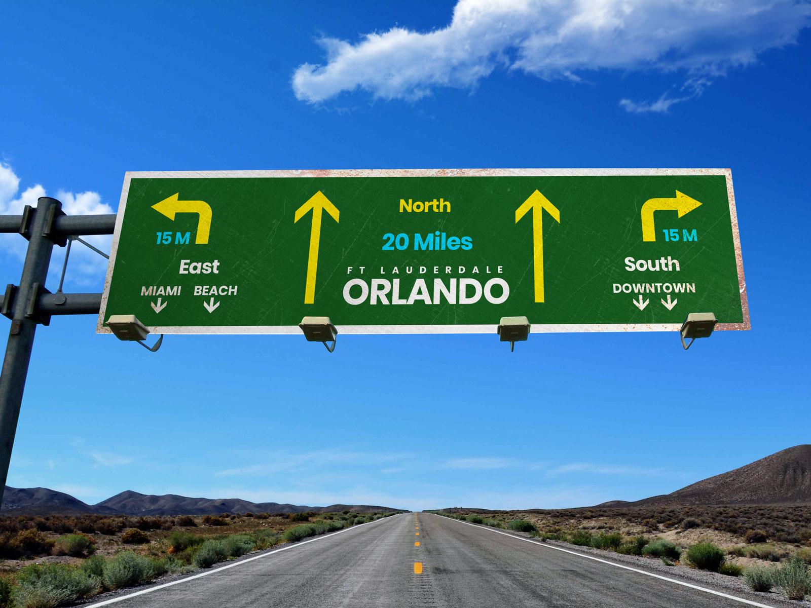 Free Highway Wayfinding Signage Board Mockup