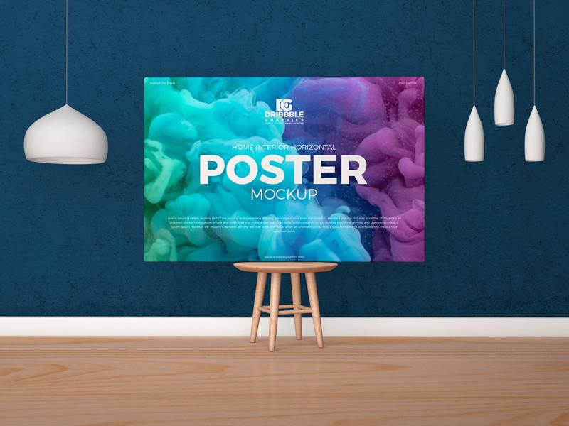 Free Horizontal Poster Canvas Mockup