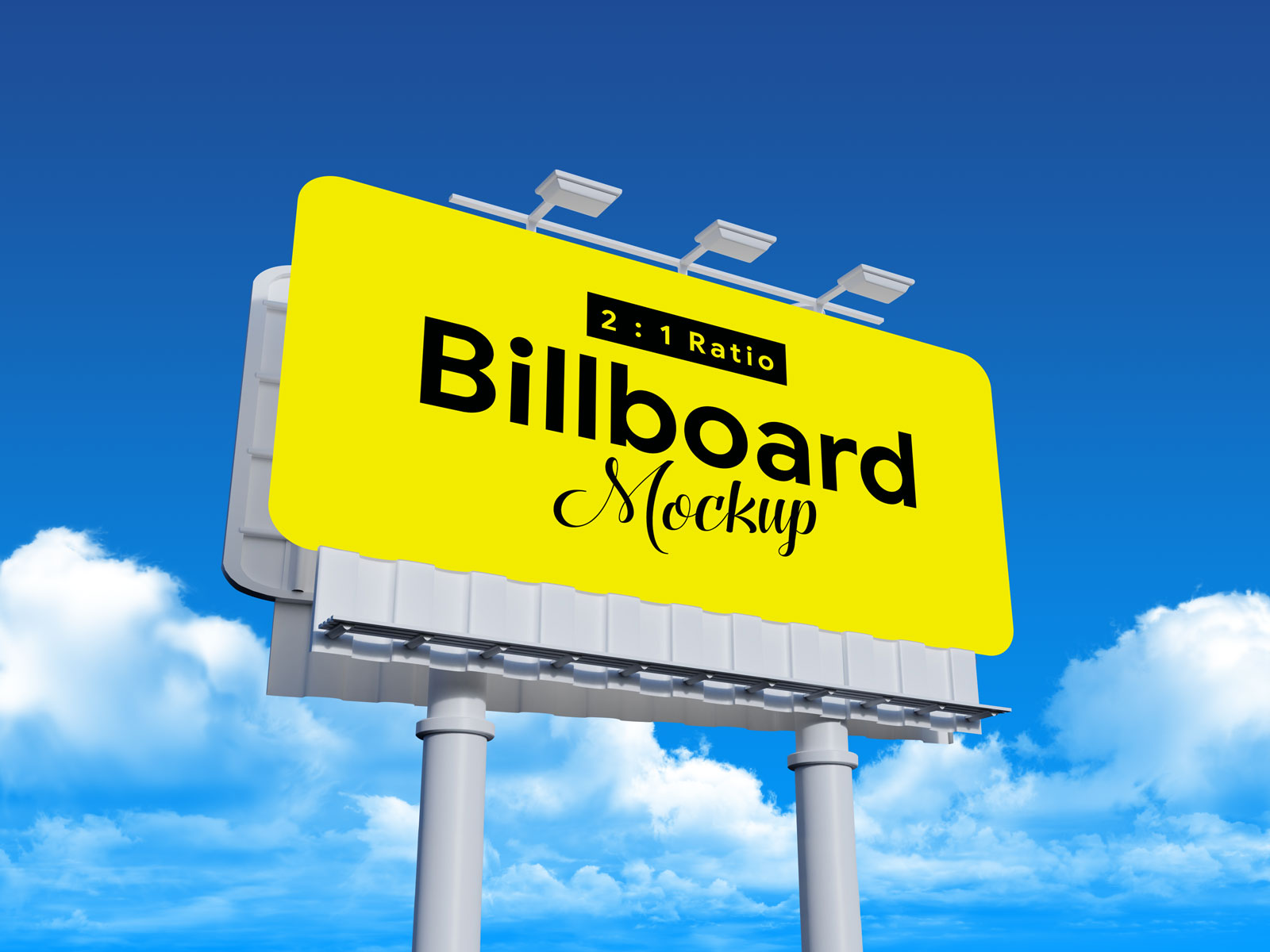Free Outdoor Rounded Corners Billboard Mockup