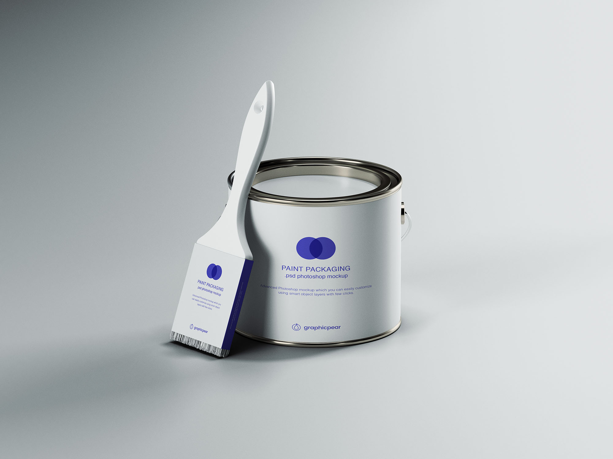 Free Paint Can & Brush Packaging Mockup