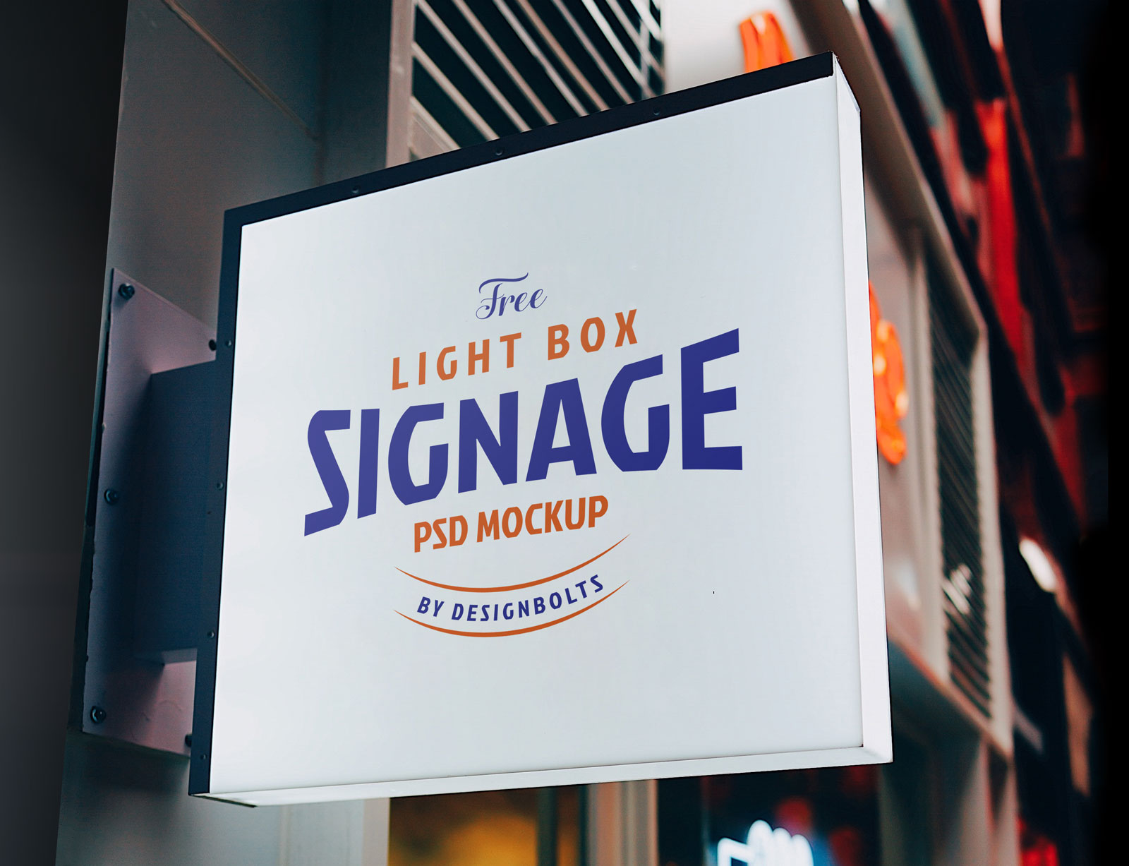 Free Light Box Signage Board Mockup