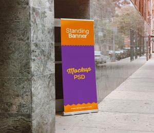 Free Outdoor Standing Banner Mockup