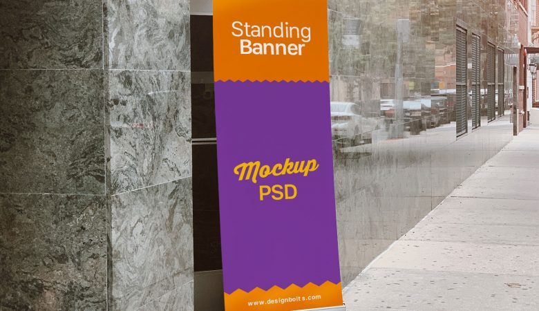 Free Outdoor Standing Banner Mockup
