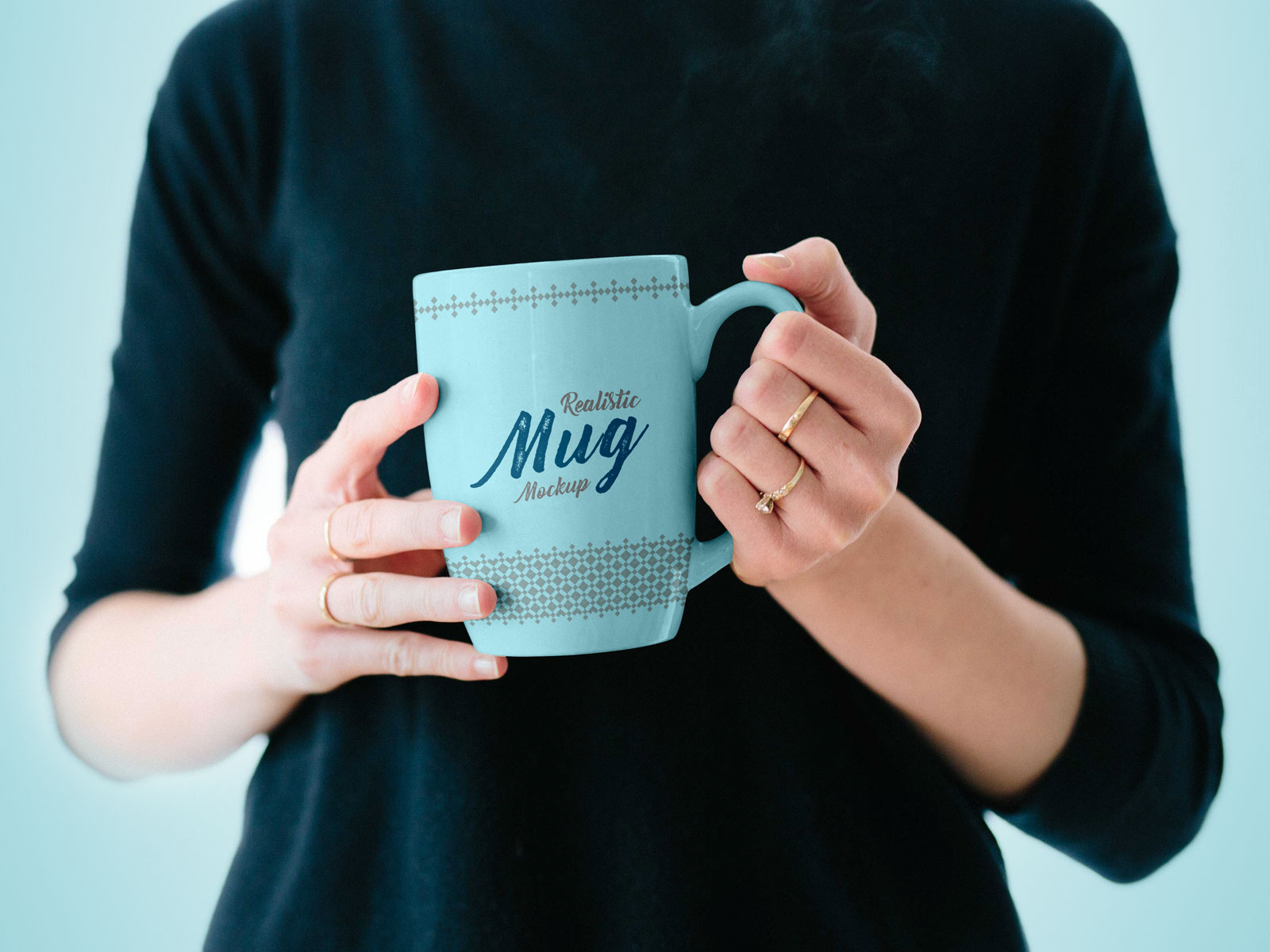 Free Mug in Female Hand Mockup