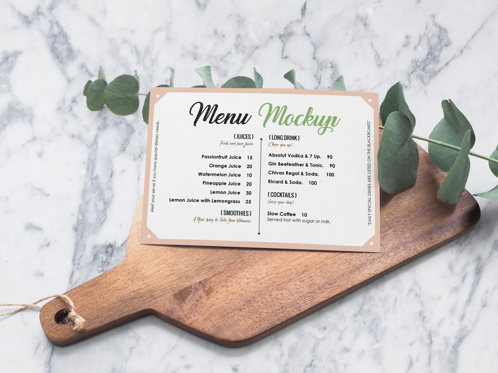 Free Landscape Hotel/Restaurant Menu Card Mockup