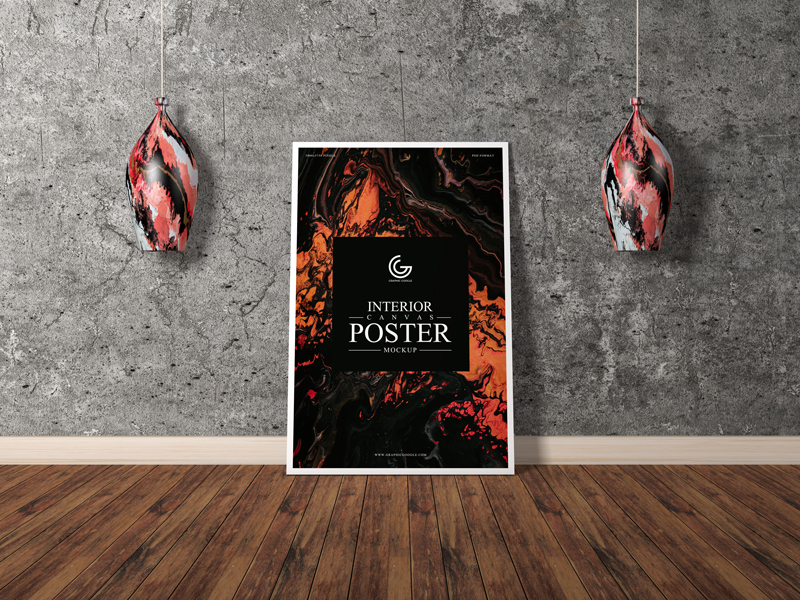 Free Interior Vertical Canvas Poster Mockup