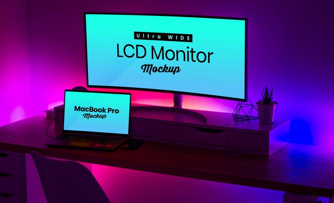 Free Ultra Wide Screen LCD Monitor & MacBook Pro Mockup
