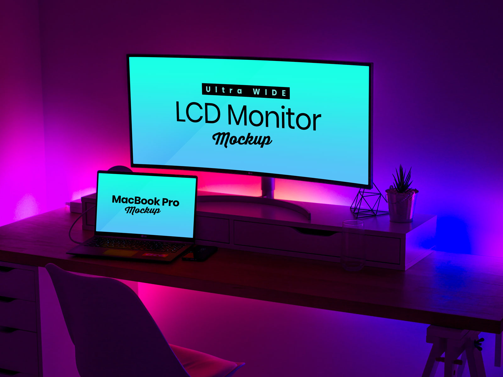 Free Ultra Wide Screen LCD Monitor & MacBook Pro Mockup