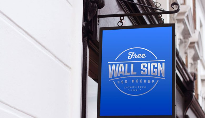 Free Classic Wall Sign Mockup