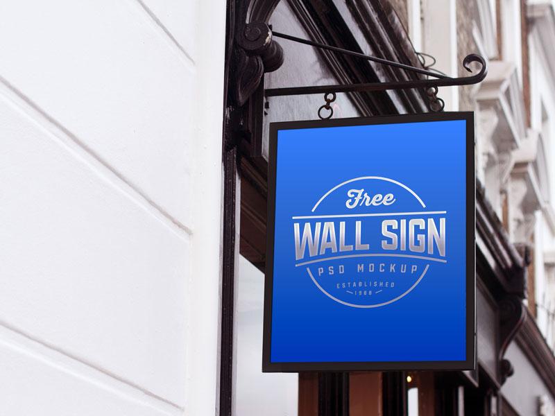 Free Classic Wall Sign Mockup