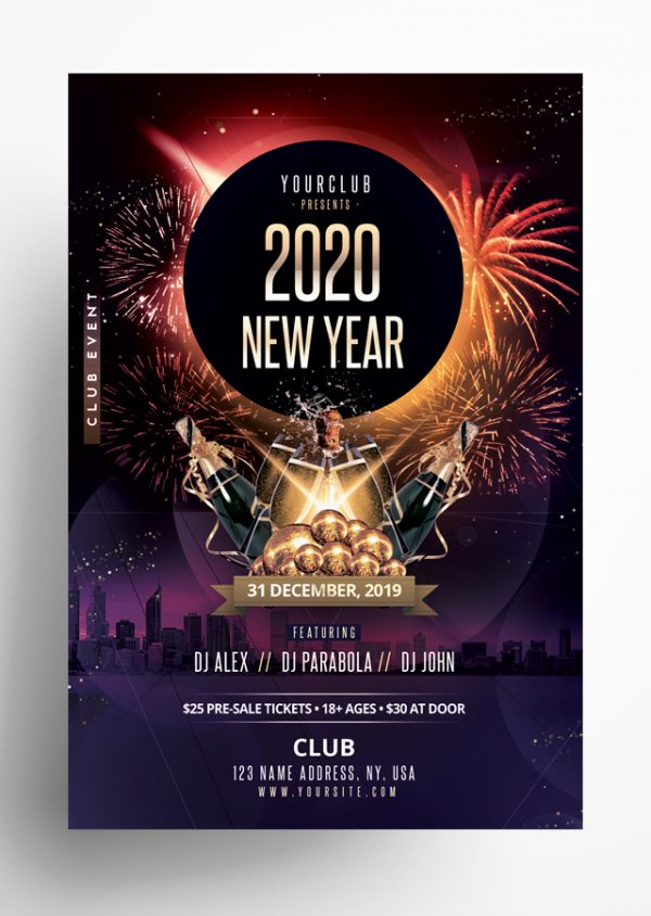 2020 New Year PSD Flyer Template