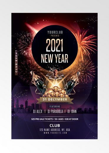 2021 New Year PSD Flyer Template