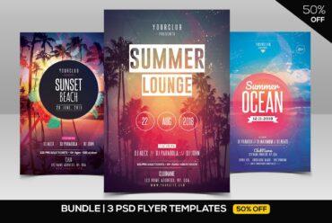 3 Summer PSD Flyer Templates Party Bundle 1