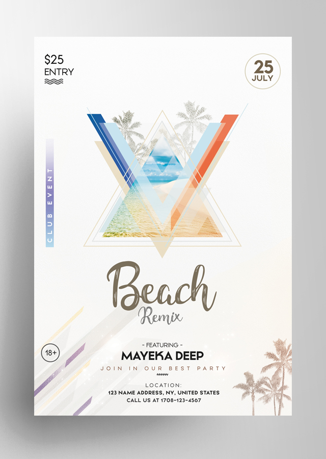 Beach Party - Geometric PSD Flyer
