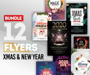 BUNDLE: 12 Christmas & NYE Eve PSD Flyers