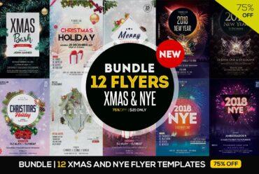 BUNDLE: 12 Christmas & NYE Eve PSD Flyers