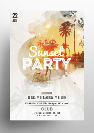 Sunset Party PSD Flyer Vol.2